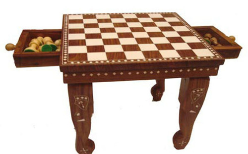 Square Chess Table with Drawer