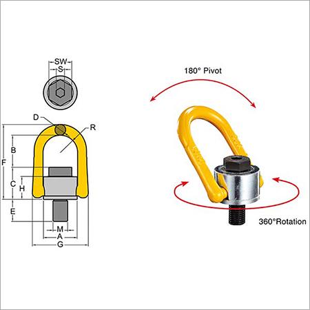 Yoke Swivel Hoist Ring - type 231 metric thread Thread