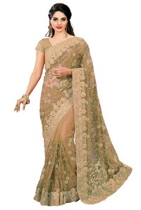 Beige Color Embroidered Net Saree
