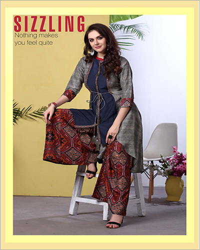 Ladies Designer Kurti With Palazzo Set