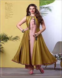 Ladies Long Jacket Kurti With Pant Set