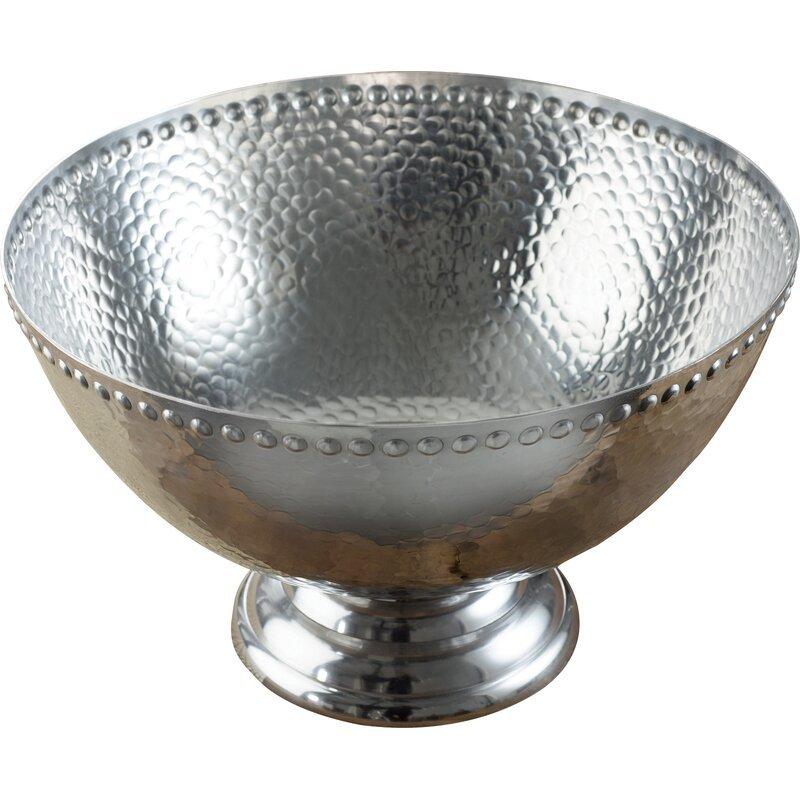Aluminum Pedestal Punch Serving Bowl