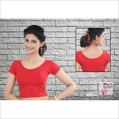 Ladies Red Plan Party Wear Blouse