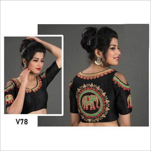 Ladies Embroidered Cold Shoulder Saree Blouse