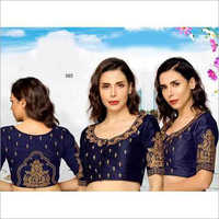Ladies Embroidered Neck Designer Saree Blouse