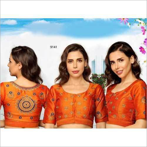 Ladies Orange Embroidered Blouse