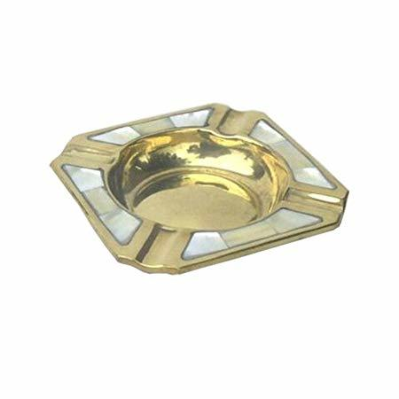 Brass Square Ashtray Mother of Pearl
