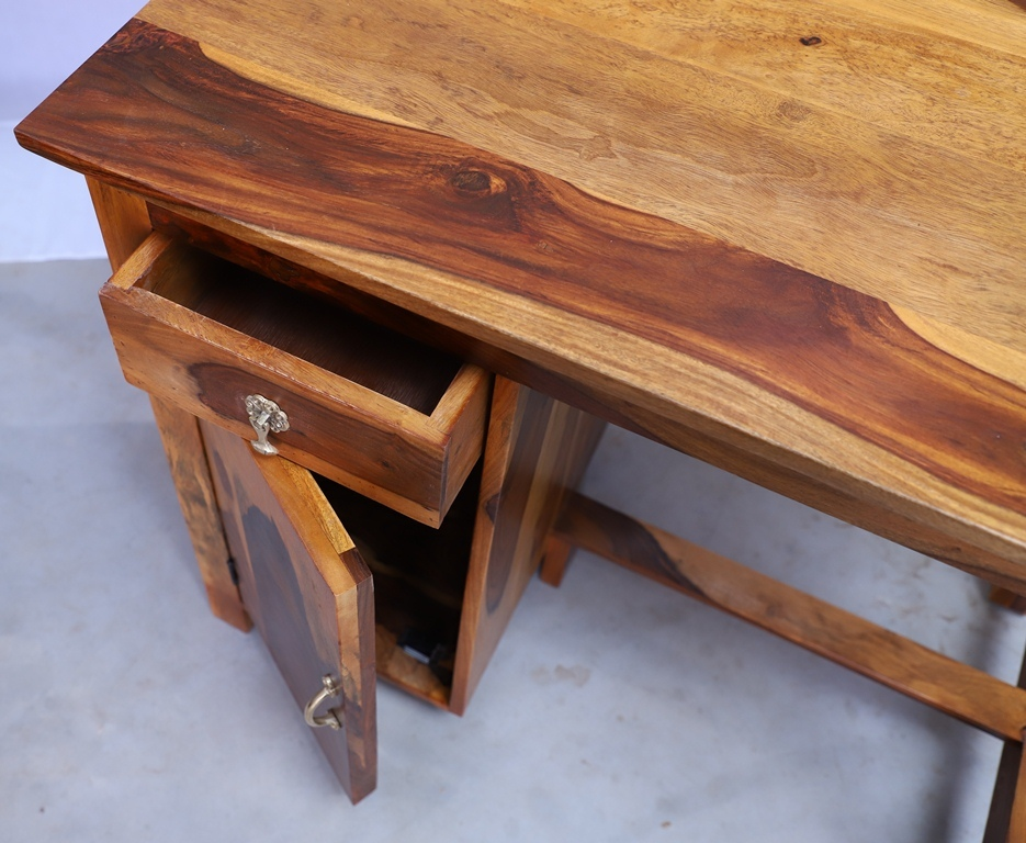 Solid Wood Study Desk With Drawer & Door