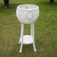 White Round Resin Wicker Plant Stand