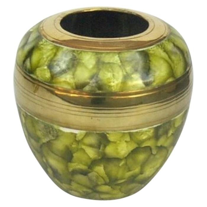 Round Green Brass Vase