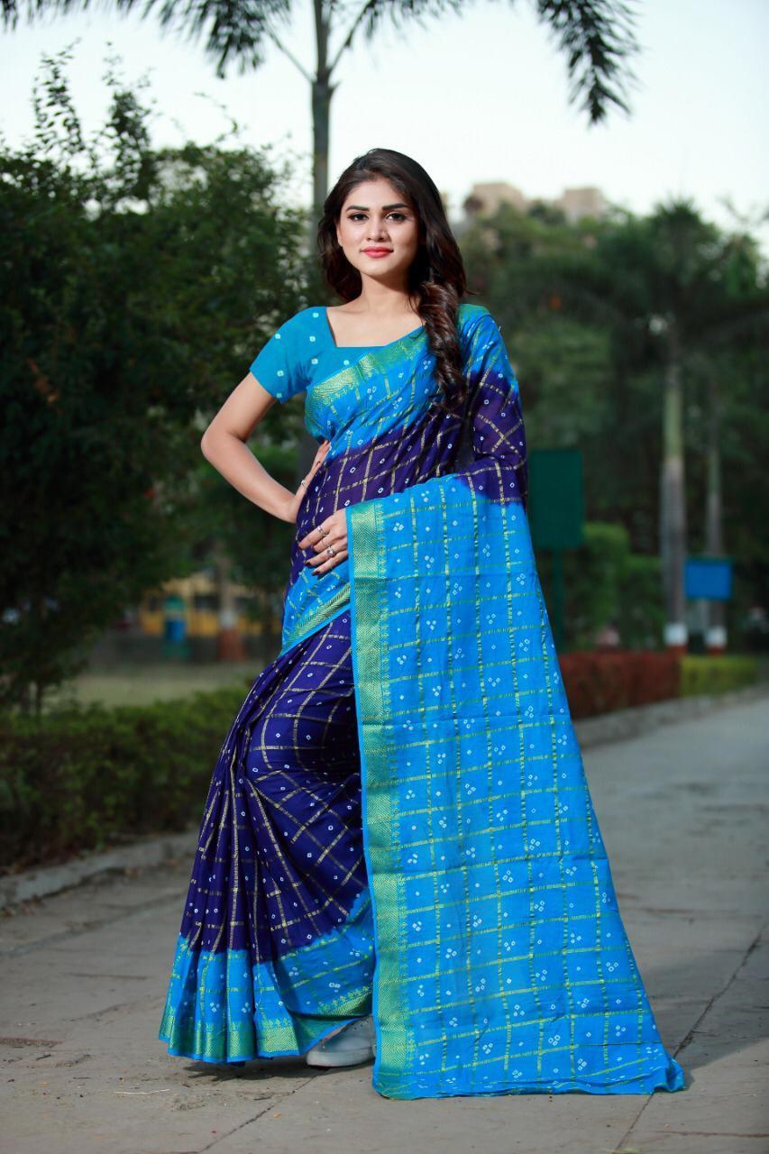 Navaratri Special Bandhani Printed Bhagalpuri Silk Saree