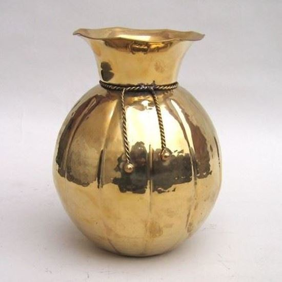 Gold Vase Round With Brass Rope