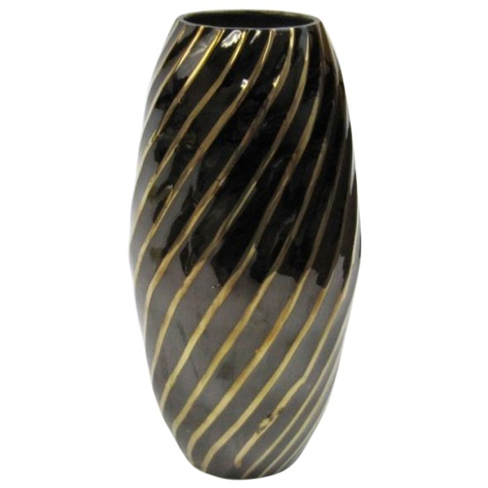 Solid Brass Vase Black and Gold Diagonal