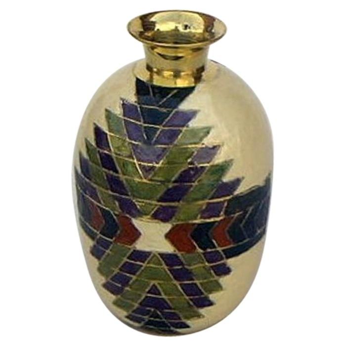 Solid Brass Round Printed Vase