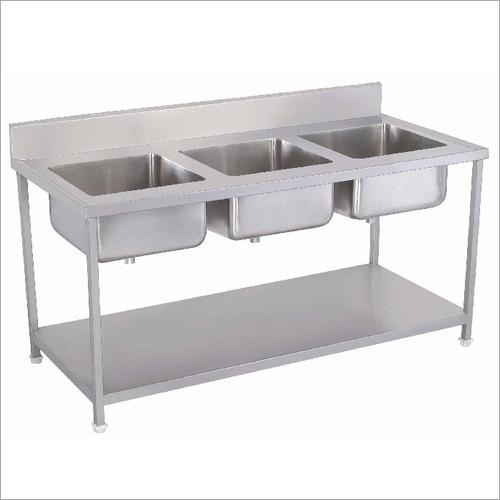 Stainless Steel Three Sink Kitchen Unit