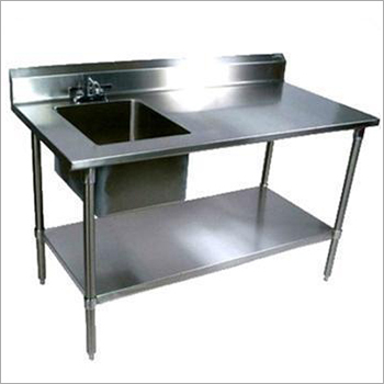 Stainless Steel Single Sink Kitchen Unit With Side Table