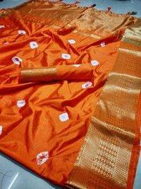 Navaratri Spacial Bandhani Hand Printed Saree with jacquard  borde