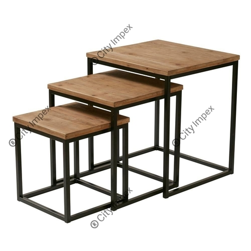 Iron Wood Table Set Of 3