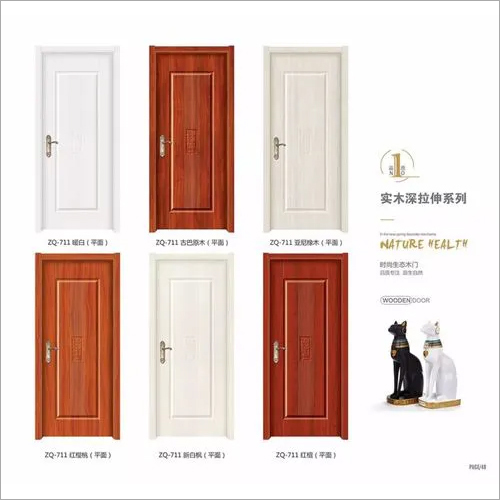 MDF Melamine skin moulded environmental interior door wood grain color wooden Melamine wood door