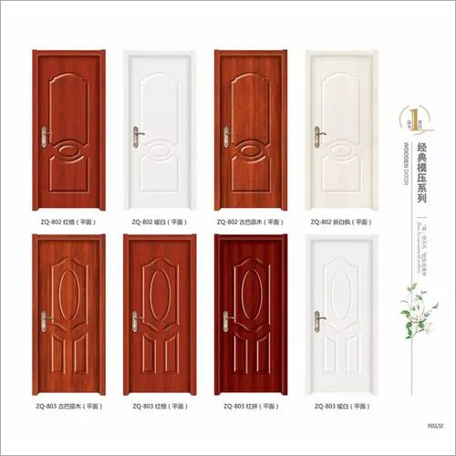 Modern Cheap Semi Solid Wood Shower Door Moulding, Red Ready Wood Door