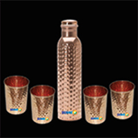 Copper Hammered bottle with Glass