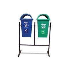 Plastic Military Green & Blue Double Stand Dustbin for Waste Collection