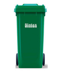 Plastic Green Outdoor Dustbin with Wheeled