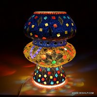 BLUE MOSAIC GLASS TABLE LAMP FOR NIGHT