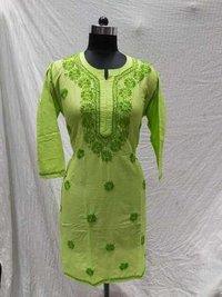 Cotton Kashmiri Chikankari Long Kurti