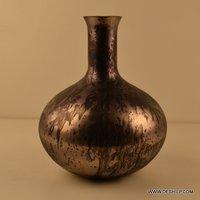 Matki Shape Glass Decorative Flower Vase