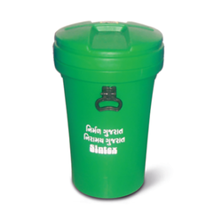 Green Plastic Waste Bins with Closed Lid for Mall, Capacity: 50 Liters