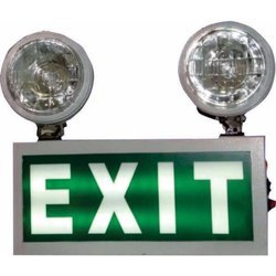 Rectangle Powder Coated MS Sheet Emergency Light with Night Glow Signage Double Beams
