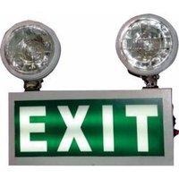 Rectangle Powder Coated MS Sheet Emergency Light with Night Glow Signage Double Beams