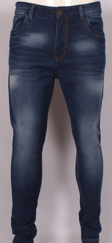 Pure Cotton Lycra Knitted Dobby Slim Fit Denim Jeans