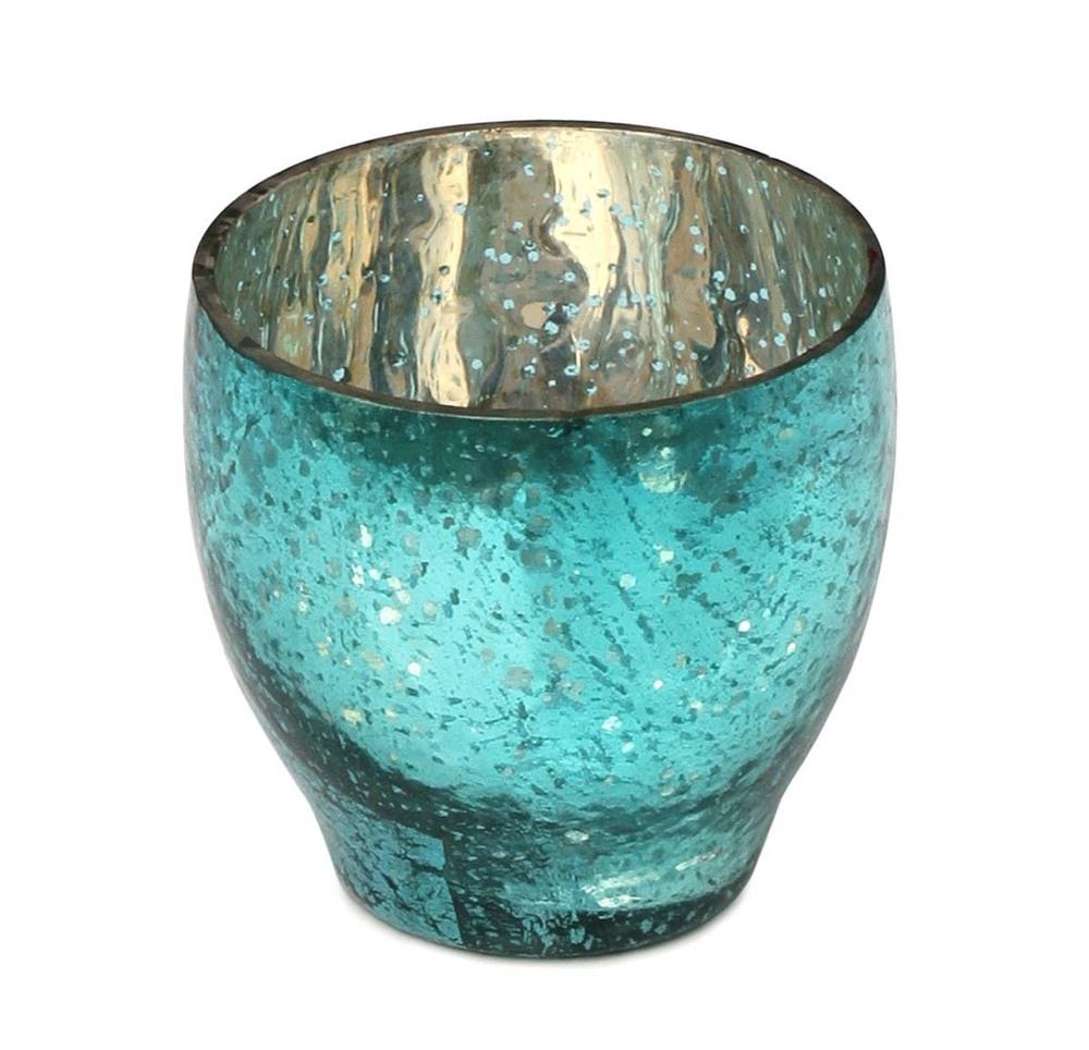Embossed Tea Light Candle Holder Dotted & Mottled Glass