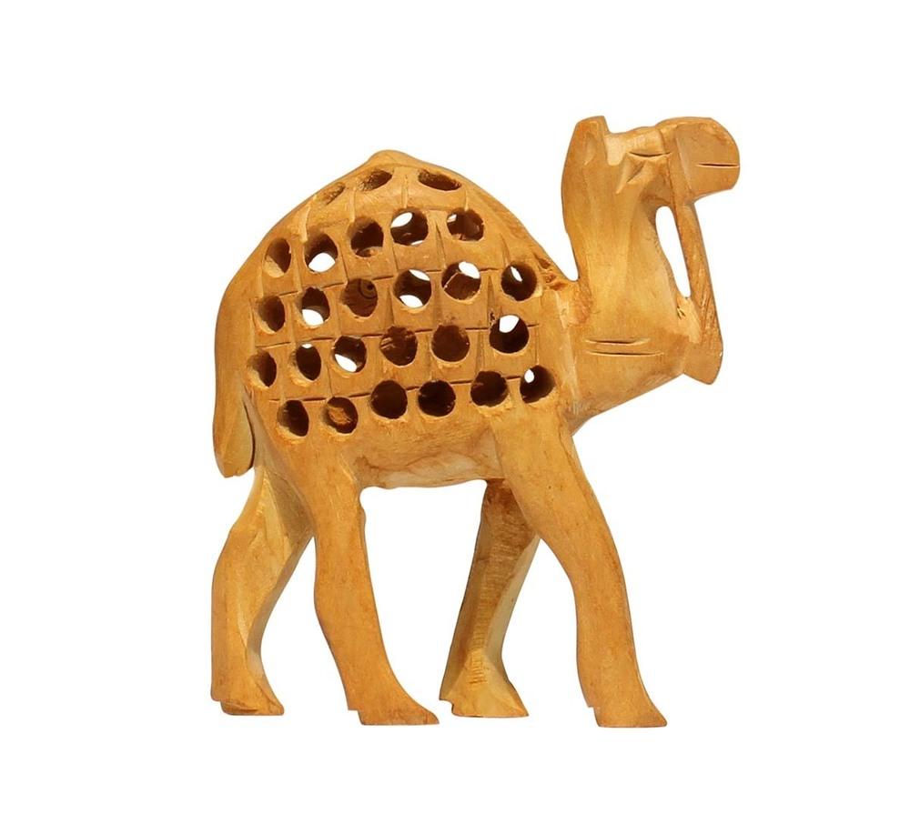 Antique Wood Open Work Art Camel Sculpture