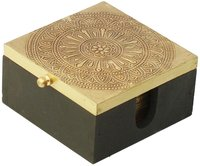 Mdf Set Of 6 Coasters Hand Carved With A Decorated Box
