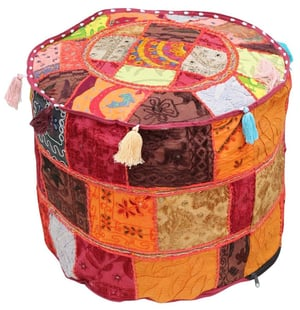 Home Decor Puffy Cover in Patchwork with Colorful Tassels