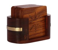 Wooden Drink Coasters With Etched Design Hand Carved Set Of 6