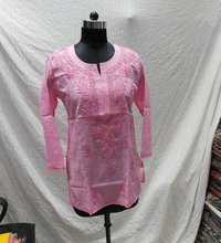 Cotton Kashmiri Chikankari Short Kurti