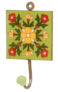 Handmade Ceramic Wall Hook With Bright Flowers On Green Base