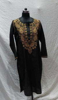 Ladies Cotton Silk Chikankari Long Kurti