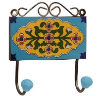 Decorative Ceramic Double Wall Hook With Multicolored Flowers On Blue Base