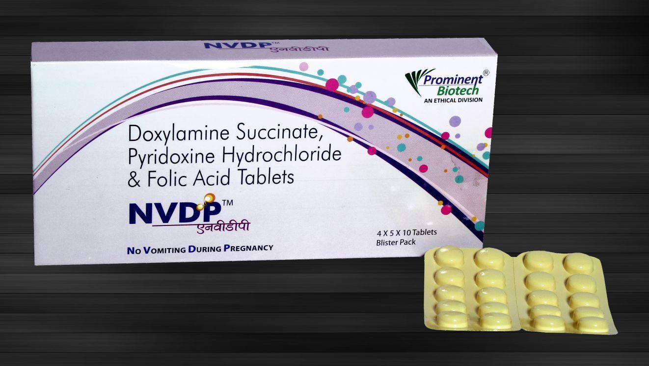 Doxylamine 10 Mg, Pyridoxine 10 Mg & Folic Acid 2.5 mg Tablets