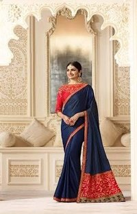 Designer Satin Silk Saree, Partywear Saree