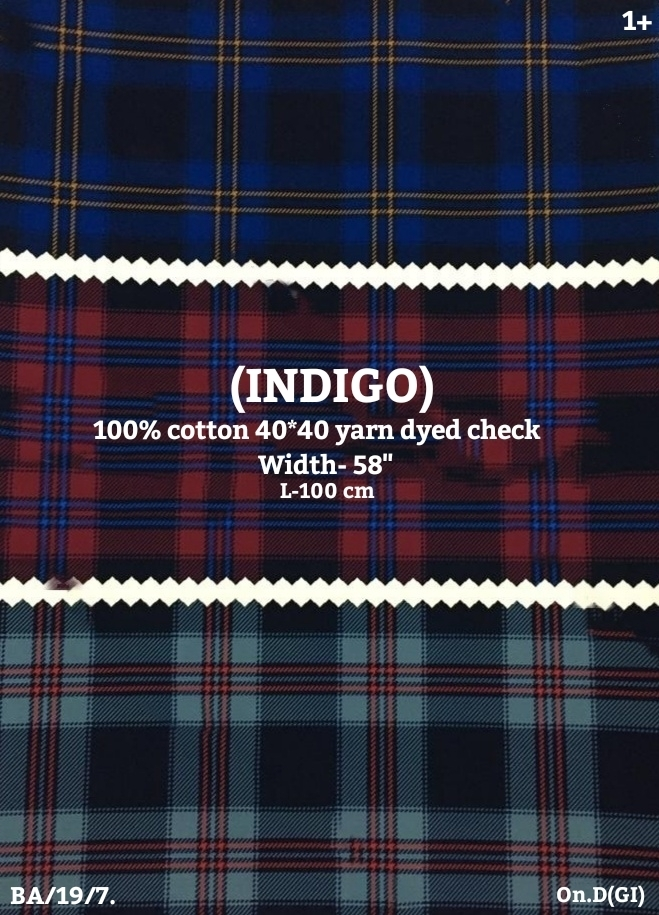 (INDIGO) 100% cotton yarn dyed check