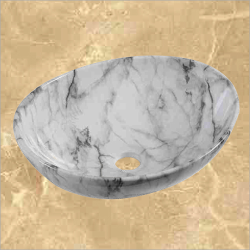Grey and White Marble Designer Table Top Wash Basin