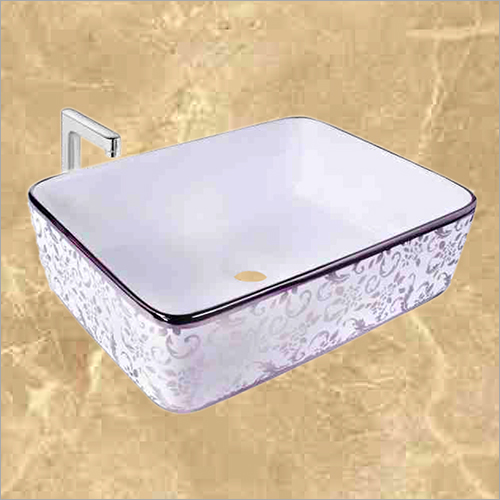 Rectangle Silver Printed Designer Table Top Wash Basin