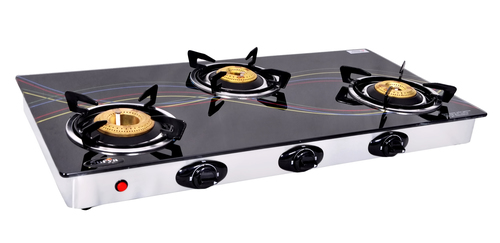 3 BURNER GLASS TOP BLACK AUTOMATIC