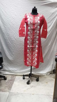 Cotton Jaal Lucknowi Long Kurti